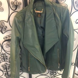 IMAN evergreen green leather motorcycle jacket M